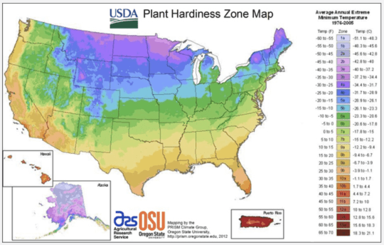 USDA Plant Hardiness map showing how to know when to prepare your garden for winter