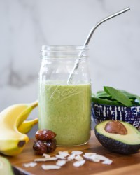 avocado banana breakfast smoothie on table