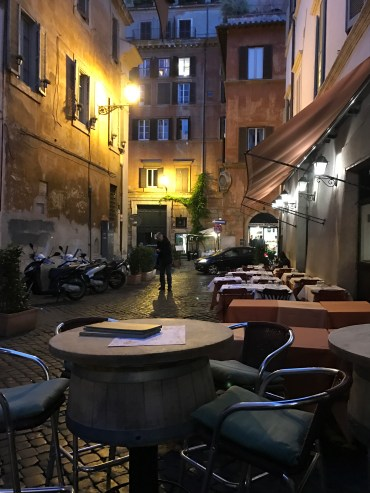 Enjoy outdoor seating at this wine bar located near Piazza Navona