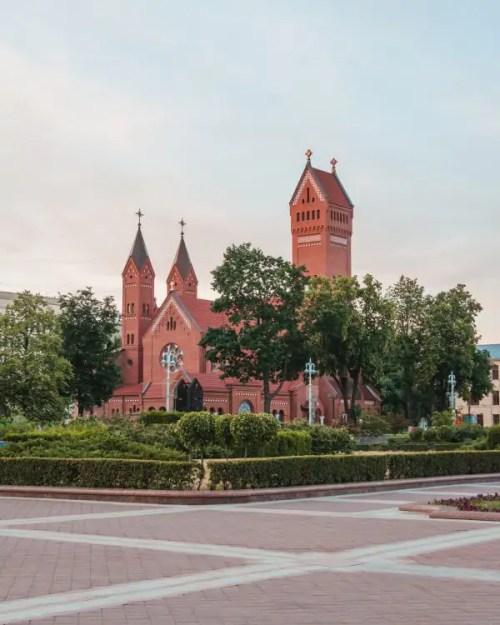 The Church of Saints Simon and Helena is located on Independence Square on Prospekt Nesavisimosti.