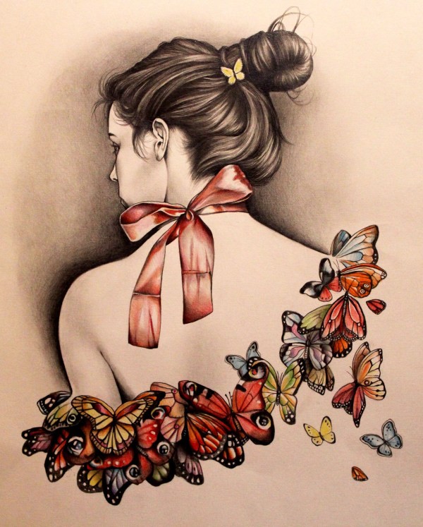 Butterfly Girl Drawing Tumblr