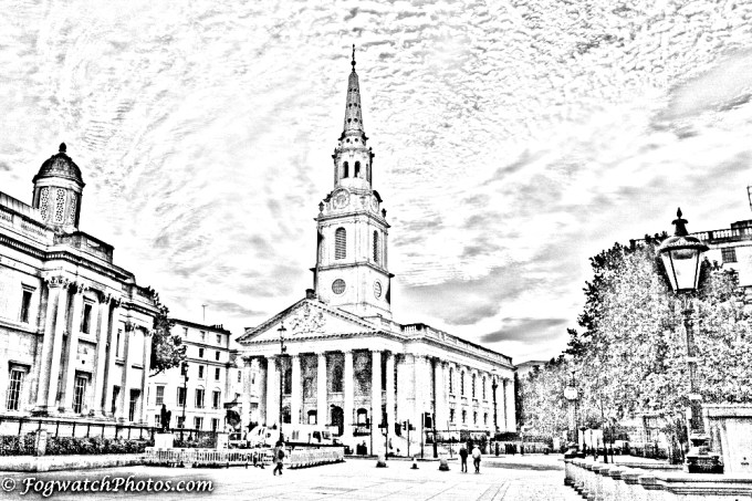 St Martin in the Fields rendered as a drawing