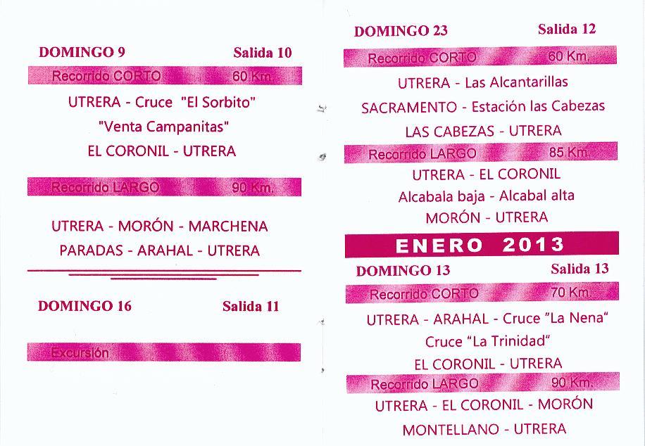 Calendario Salidas Peña Ciclista de Utrera (5/6)