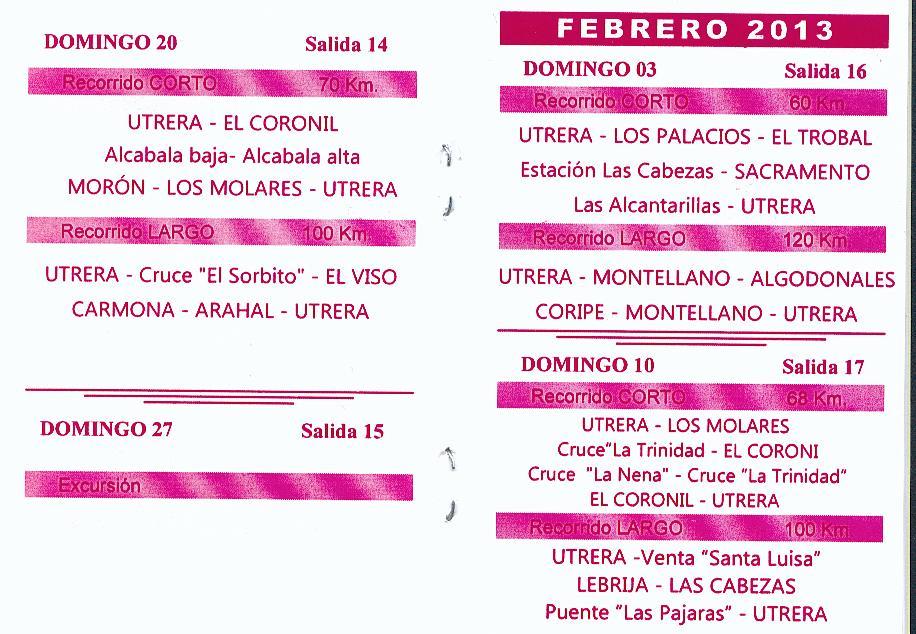 Calendario Salidas Peña Ciclista de Utrera (6/6)