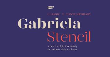 Gabriela Stencil [12 Fonts]