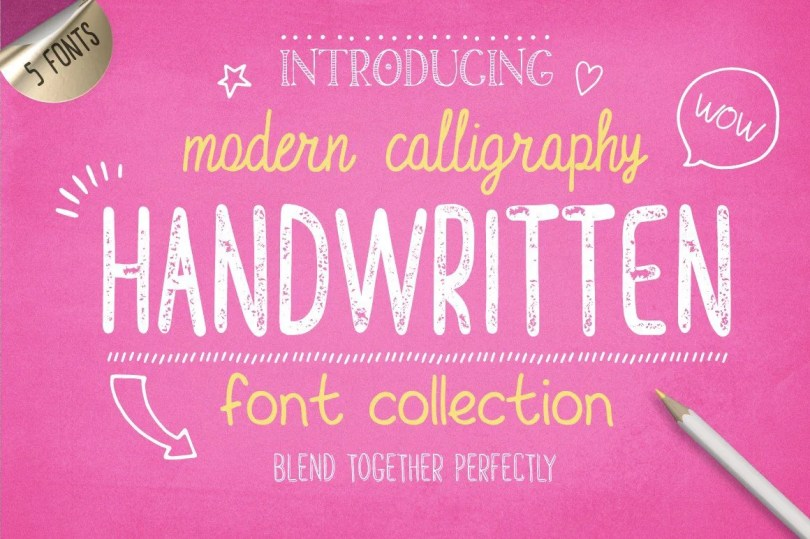 Handwritten Font Collection By Julia Dreams [10 Fonts + Extras]