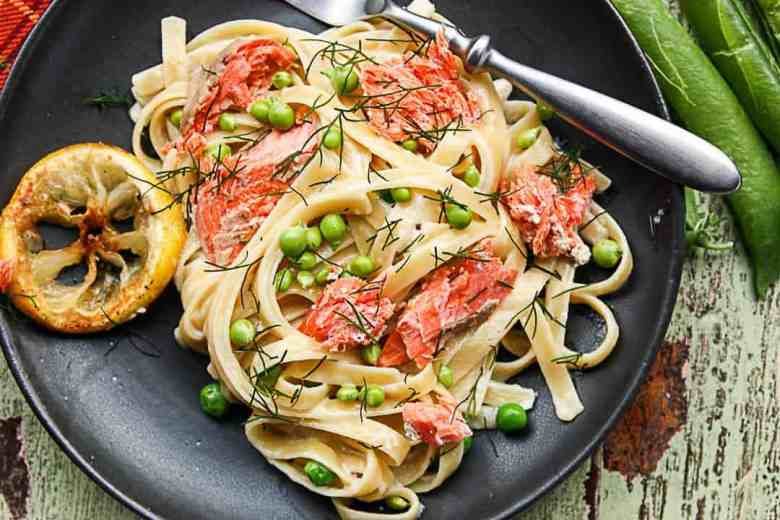 Fettuccine Alfredo  with Salmon and Peas