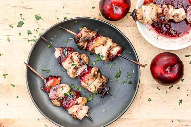 Grilled Plum & Pork Kebabs