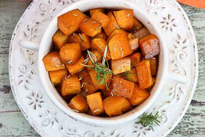 Maple Roasted Butternut Squash with Rosemary and Balsamic Vinegar