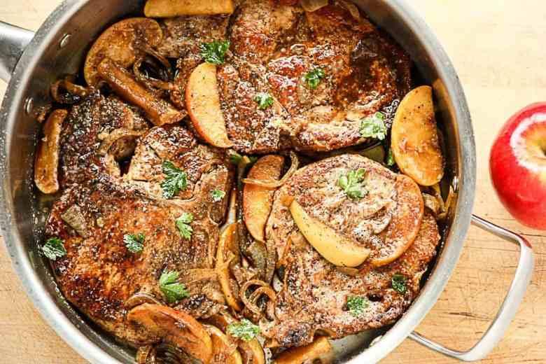 Glazed Pork Chops with Carmelized Apples & Onions