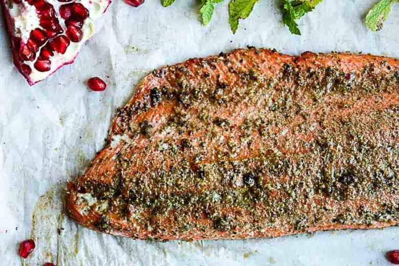 Spiced Rubbed Baked Salmon with Pomegranate Raita