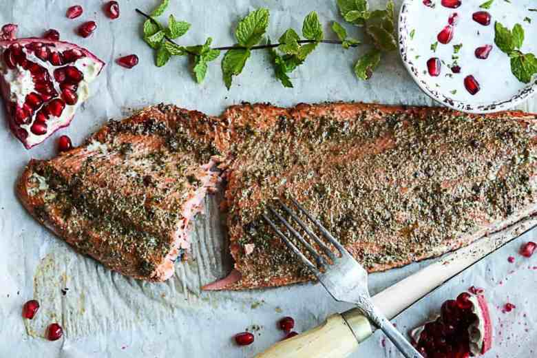 Spiced Baked Salmon with Pomegranate Raita
