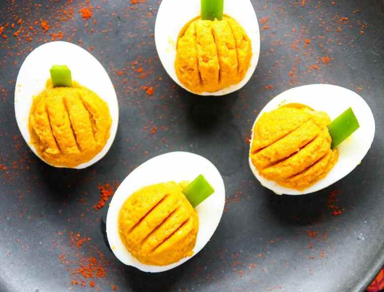 Pumpkin Deviled Eggs