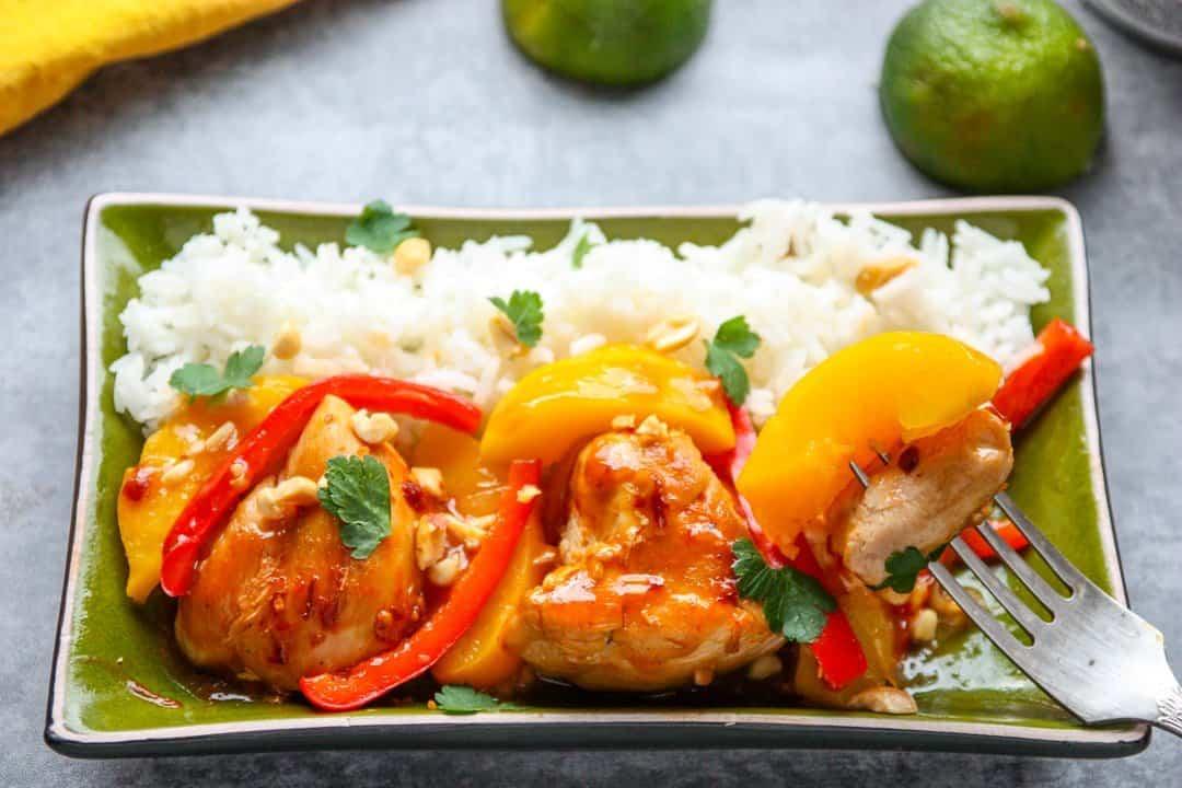 Thai Peach Chicken Easy Skillet Chicken Recipe The Food Blog