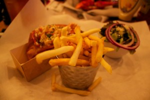 burger and lobster chips