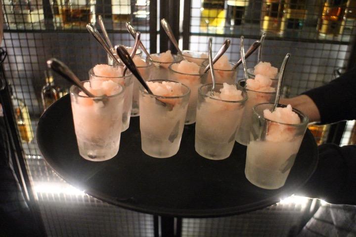 Rhubarb gin granita