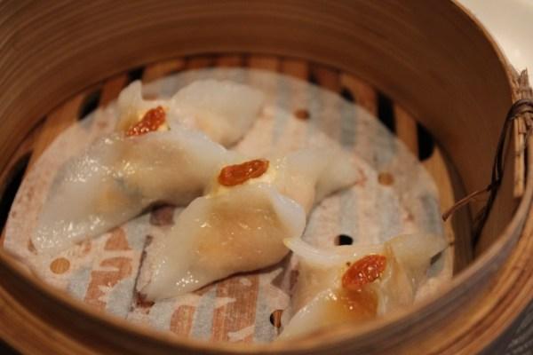 salmon, prawn and mint dumpling