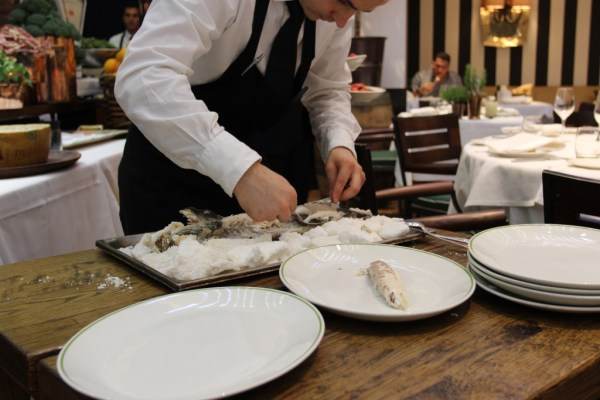 sea bass cooked in sea crust