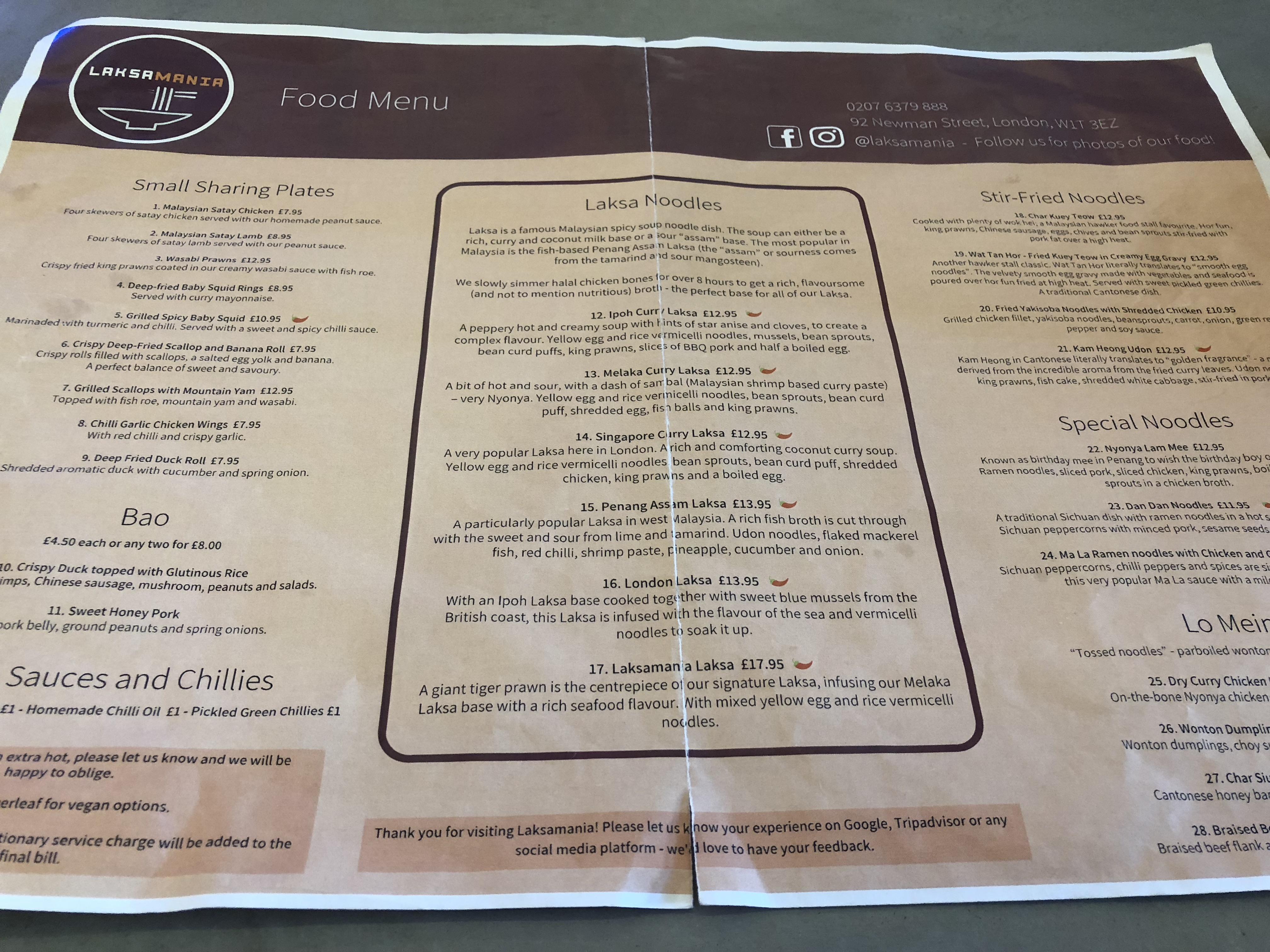 Laksamania menu