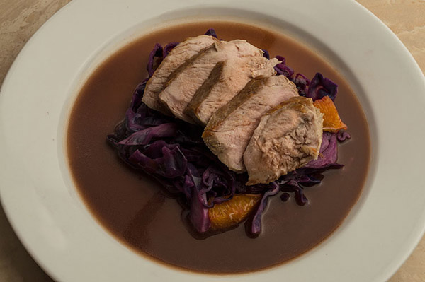 Pork Tenderloin, Red Cabbage, Citrus Reduction Sauce