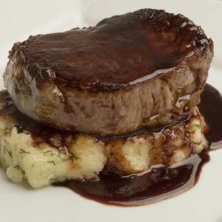 Filet Mignon With Puree Of Parsnips And Malbec Reduction Sauce