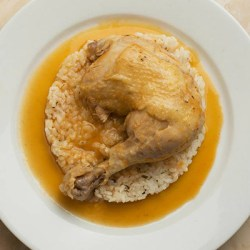 Chicken in vinegar sauce on rice