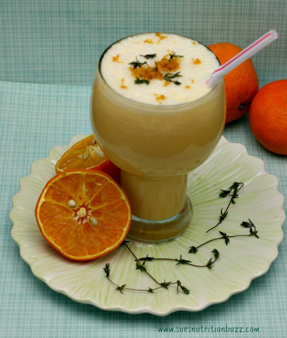 creamy orange julius with coconut milk and fresh herbs recipe picture sue's nutrition buzz