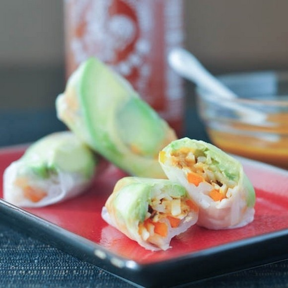 Avocado-Shiitake Spring Rolls recipe by Spabettie