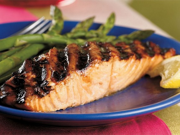 Grilled Salmon with Korean Barbecue Glaze recipe