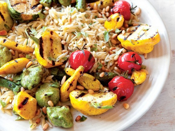 Grilled Squash & Orzo Salad with Pine Nuts & Mint recipe