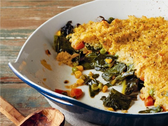 Heart-Healthy Deep Dish Greens with Millet Amaranth Crust recipe