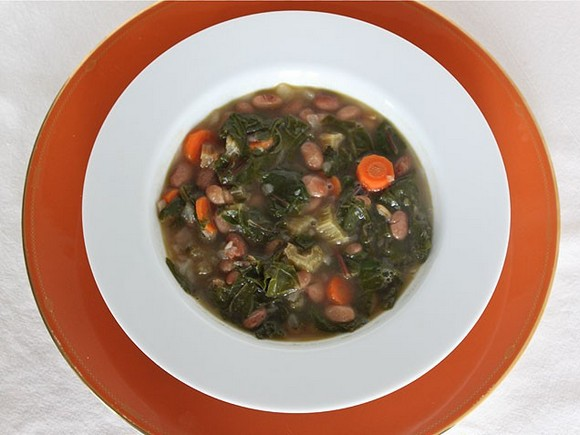 Hearty Soup with Beans, Greens and Grains recipe