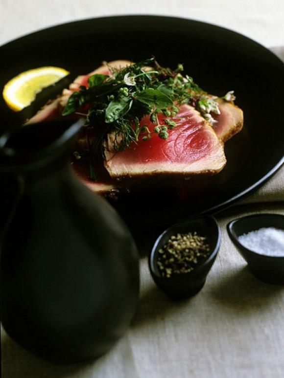 Miso Glazed Seared Tuna with Fresh Herb Salad recipe