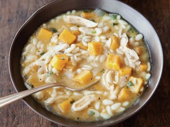 Orzo, Delicata Squash & Chicken Soup with Sage recipe