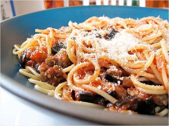 Spaghetti with Roasted Eggplant 'Bolognese' recipe