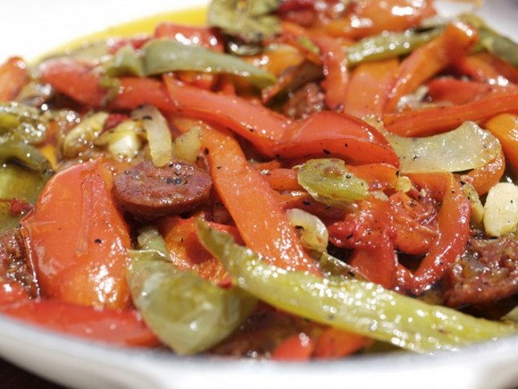Turkey Sausage with Sauted Peppers and Onions recipe