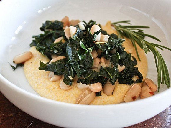 Tuscan Polenta with Rosemary, Kale and Cannellini Beans recipe