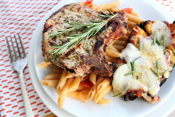 Garlic Grilled Pork with Cheesy Zucchini Marinara and Pasta recipe photo