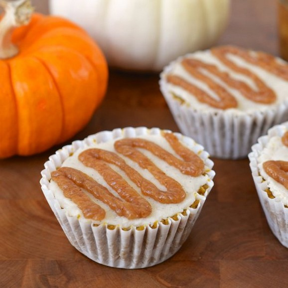 Raw Spiced Pumpkin Cupcakes with Coconut Vanilla Icing and Ginger Date Caramel recipe photo