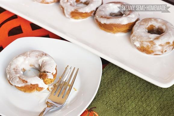 Skinny Cream Cheese Glazed Pumpkin Doughnuts recipe photo