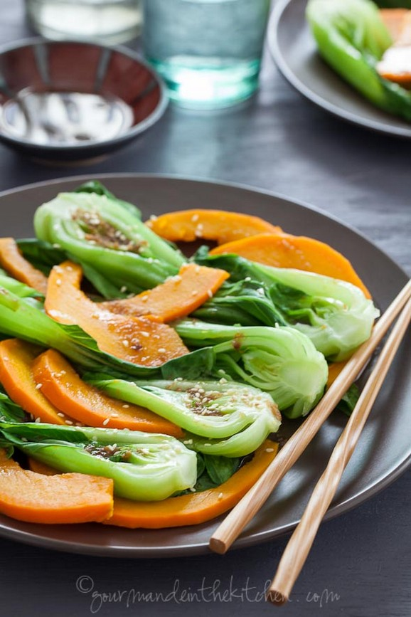 Vegan, Paleo Steamed Pumpkin and Baby Bok Choy with Ginger Sesame Sauce recipe photo