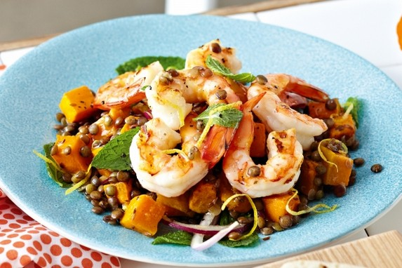 Chargrilled Prawn, Pumpkin and Lentil Salad