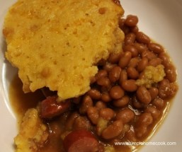 Crock Pot Hot Dog, Baked Beans, and Cornbread Casserole recipe