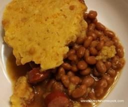 Crock Pot Hot Dog, Baked Beans, and Cornbread Casserole recipe