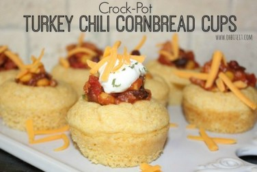 Crock-Pot Turkey Chili Cornbread Cups recipe