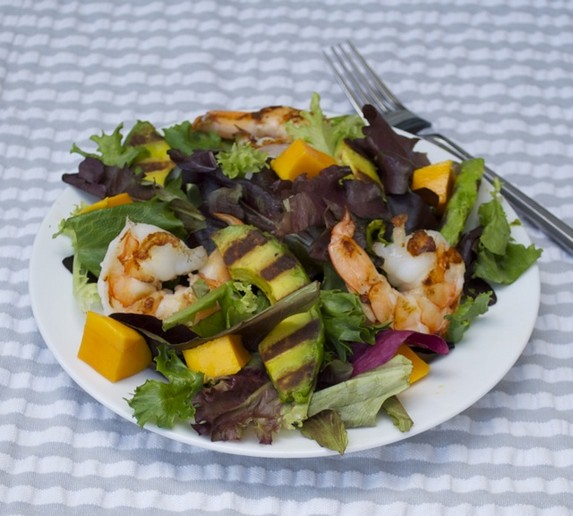 Grilled Avocado Salad with Jumbo Prawns