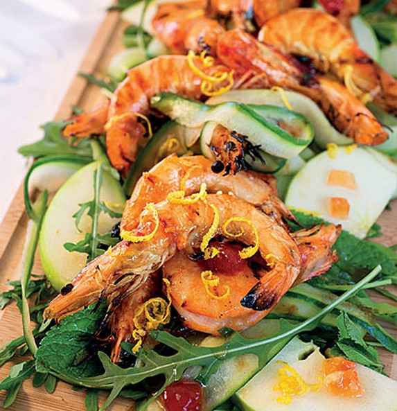 Grilled Prawn Salad with Chilli Watermelon Jam Dressing