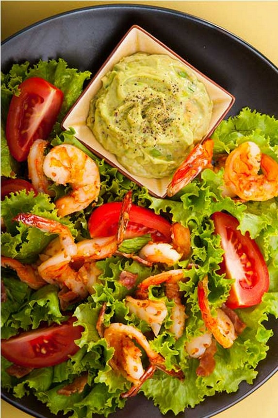 Grilled Prawn Salad with Tomatoes and Avocado Aioli