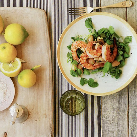 Gwyneth Paltrow's Marinated Gigante Bean Salad with Grilled Prawns & Watercress