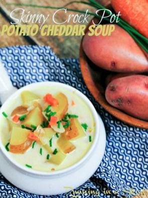 Skinny Crock Pot Potato Cheddar Soup recipe
